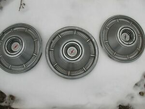 1966 Chevrolet Chevy 14 Set Of 3 Hubcaps Wheel Covers Vintage