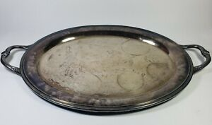 International Silver Plated Large Oval Serving Platter Tray With Handles Design