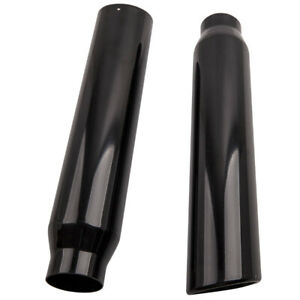 1 Pair Black Stainless Steel Exhaust Tips 2 5 Inlet 3 5 Outlet 18 Long