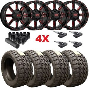 22 Xd Black Red Wheels Rims 33 12 50 22 Mt Tires Tundra Ram Sequoia