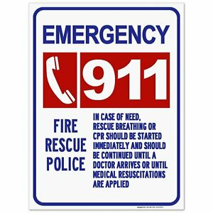 911 Emergency Fire Rescue Police Sign 18x24 Inches Rust Free 063 Aluminum