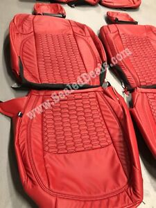 Jeep Wrangler Jl Custom Red Hexagon Stitch Leather Seat Covers Sahara Or Sport