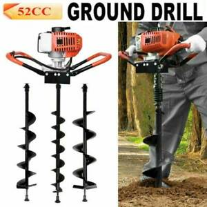 52cc Gas Powered Earth Auger Power Engine Post Hole Digger 4 5 6 Drill Bit Usa