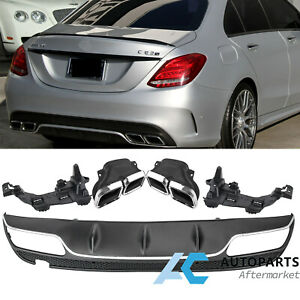 Amg Style Chrome Rear Bumper Diffuser Exhaust Tips For Mercedes C200 C300 15
