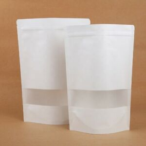 White Kraft Paper Stand Up Zip Bags Resealable Food Lock Pouch With Matte Window