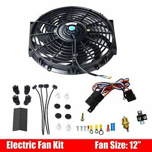 12 Inch Universal Electric Radiator Cooling Fan With Thermostat Relay Kit