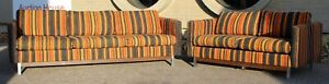 Mid Century Modern Wood Chrome Pair Sofa Loveseat Set By Selig Monroe Denmark
