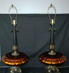 Huge Mid Century Modern Table Lamps Coppery Amber Hollywood Regency