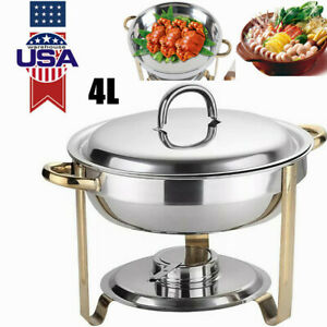 4l Stainless Steel Gold Warming Container Chafing Dish Warmer Food Insulation Us