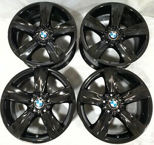 18 Bmw Oem Factory Black Wheels Rims Staggered 36116768859 36116768858 59619