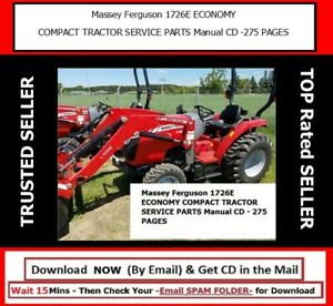 Massey Ferguson 1726e Economy Compact Tractor Service Parts Manual Cd 275 Pages
