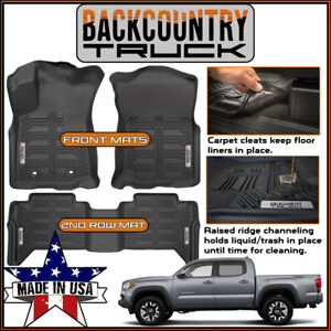 New Backcountrytruck Floor Mats Liners Fit 2016 17 Toyota Tacoma Double Cab