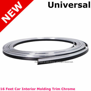 Chrome Flexible Trim Car Interior Moulding Strip Decorative Line 16ft 5m 4mm