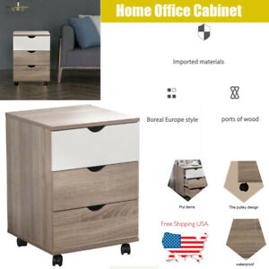3 Drawer Office Home Mobile Wood File Filing Cabinet Storage Business Furniture