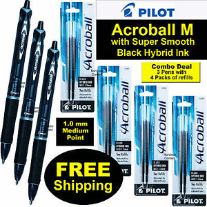 Pilot Acroball M 31810 Black Hybrid Ink 3 Pens With 4 Packs Of 77297 Refills