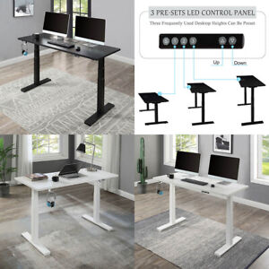 Electric Standing Desk Height Adjustable Computer Table Dual Motor White black