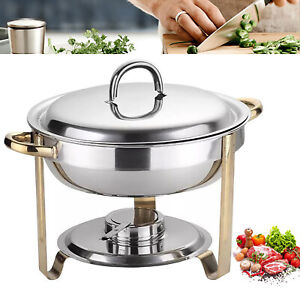 4l Round Chafing Dish Buffet Food Warmer Pan Insulation Container Set With Lid
