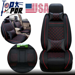 Cooling Leather Car Seat Cover 5 Sit Suv Cushion Front Rear W Pillow Full Set Us