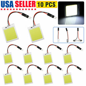 10pcs 48smd Cob White Led T10 Ba9s Car Interior Panel Light Dome Map Lamp Bulbs
