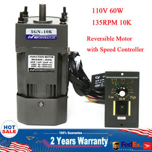 110v 60w Ac Gear Motor Electric variable Speed Reduction Controller 135 Rpm 1 10