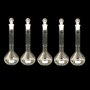 Lot Of 5x Pyrex 5640 50ml Lab Glassware Volumetric Flask W stoppers