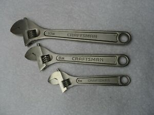 Craftsman 6 8 10 Adjustable Wrench Set Made In Usa 3 Pcs