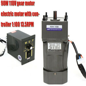 New Ac 110v 90w Gear Motor Electric Motor Variable Reducer Speed Controller 100k