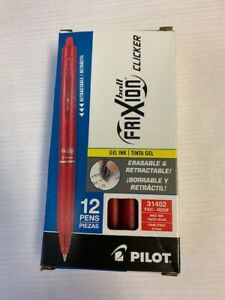 Pilot Frixion Clicker Erasable Gel Pens 0 7 Mm Red Pack Of 12 Free Shipping