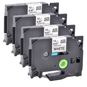 4pk Tz 231 Black On White Label Tape 12mm Compatible For Brother P touch Tze 231