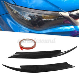 Carbon Fiber Headlight Lids Eyebrow Eyelids Cover For Subaru Impreza Wrx 08 11