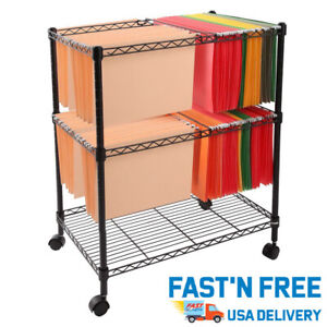 2 Tier Metal Rolling Mobile File Cart For Letter legal Size Home Office Supplies