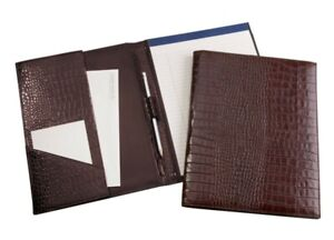 Graphic Image Leather Legal Size Portfolio Holds Legal Pad Pen Brwn Croc Emboss