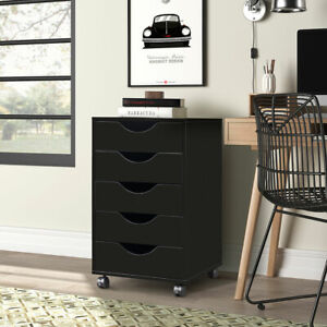 5 Drawer Mobile Storage Cabinet Wood Filing Cabinet W locking Caster Home Office