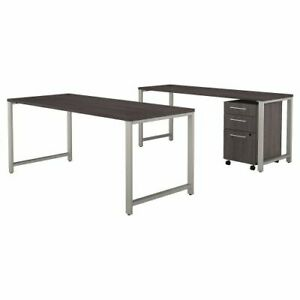 72w X 30d Table Desk W Credenza And 3 Drawer Mobile Ped Bsh