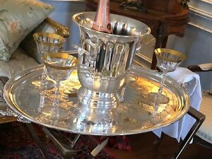 Large Silver Plate Vintage Champagne Bucket