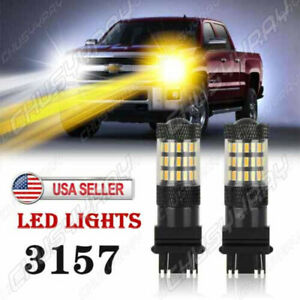 For Chevy Silverado1500 2500 White Amber Switchback Led Turn Signal Light Bulbs