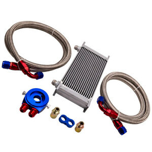 19 Row 10an Engine Transmission Oil Cooler Silver Filter Relocation Kit
