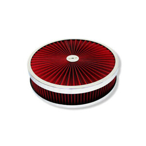 14 X 3 Chrome Round Red High Flow Thru Washable Air Cleaner Drop Base For Sbc