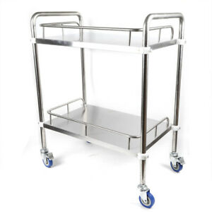 Lab Spas 2 Layers Rolling Cart Trolley Stainless Steel Utility Serving Equipment