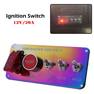 Ignition Switch Panel Racing Car Engine Start Push Button Modified Accessory Kit