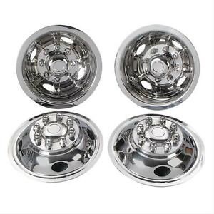 01 Ford F350 16 8 Lug Motorhome Hubcaps Rv Simulators Snap On Stainless Truck