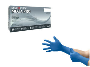 Microflex Blue Heavyduty Thick 9 8mil Rubber Latex Gloves 50 Count