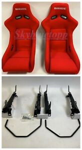 Pair 2 Bride Zeta Ii Red Bucket Racing Seats Jdm With Rails For Civic Fg1