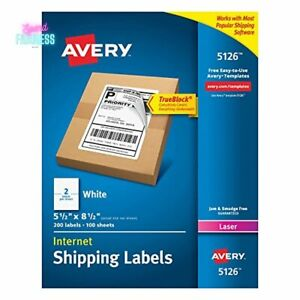 Avery Shipping Address Label Laser Printers Half Sheet 200 Printable Labels New
