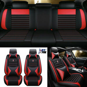 Universal Red black Car Seat Cover Pu Leather Protect Front Rear 5 sits Cushions