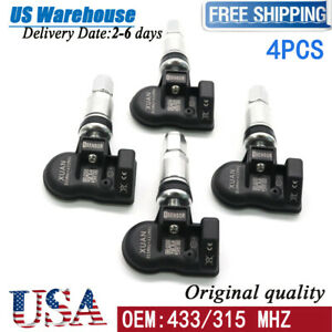 4x 315mhz 433mhz Programmable Universal Metal Tire Pressure Monitor Tpms Sensor