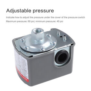 Water Pump Pressure Control Switch Monitor Automatic Adjustable 40 60psi 110v