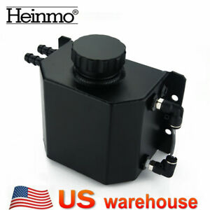 Universal 1l Aluminum Radiator Coolant Overflow Bottle Recovery Water Tank Black