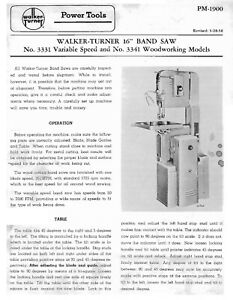 Walker Turner No 3331 16 inch Band Saw Operator Parts Manual 1900
