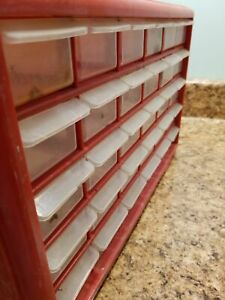 Storage Bins Red Plastic 30 Drawer Cabinet Organizer Storage Box